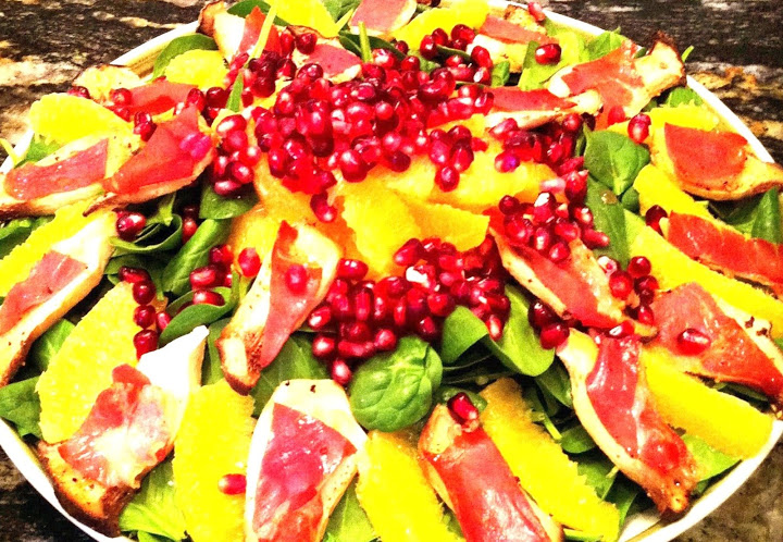 ... Salad with King Oyster Proscuitto Croutons, Mandarins and Pomegranate