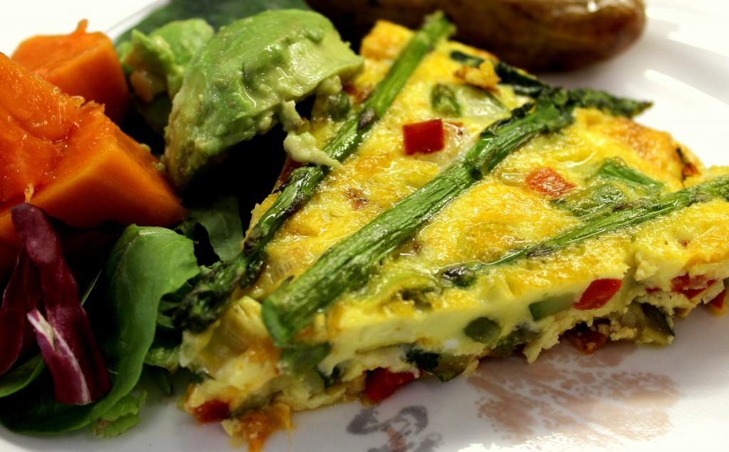 Frittata – asparagus, zucchini, red pepper, Thai chilli, mushrooms ...